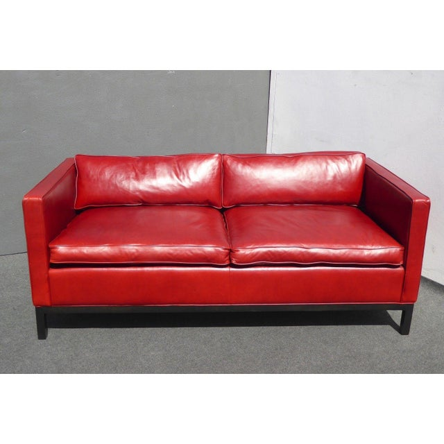 Designer Contemporary Red Leather Sofa - Image 2 of 11