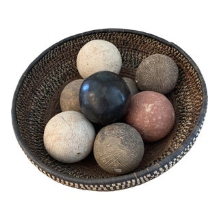 Asian Natural Woven Basket Bowl With Terra-Cotta Balls For Sale
