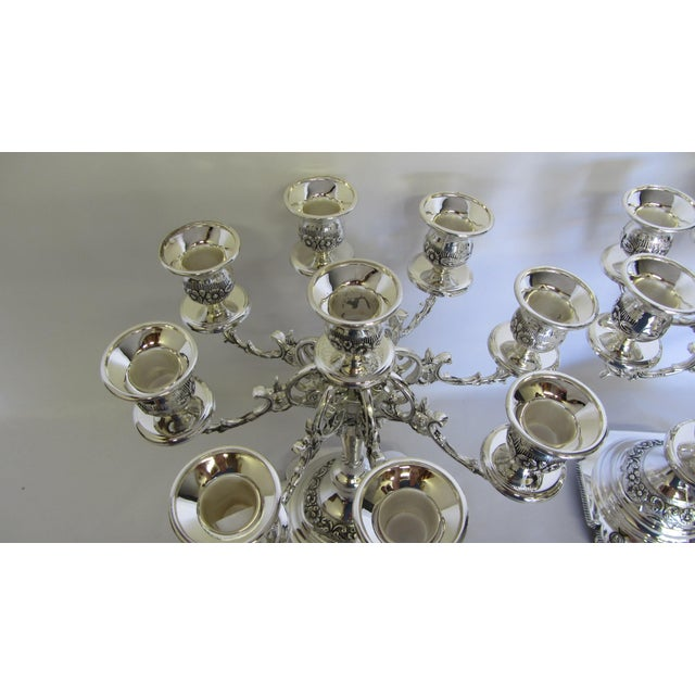 Godinger Silver Plate 9 Arm Candelabras - A Pair - Image 4 of 7