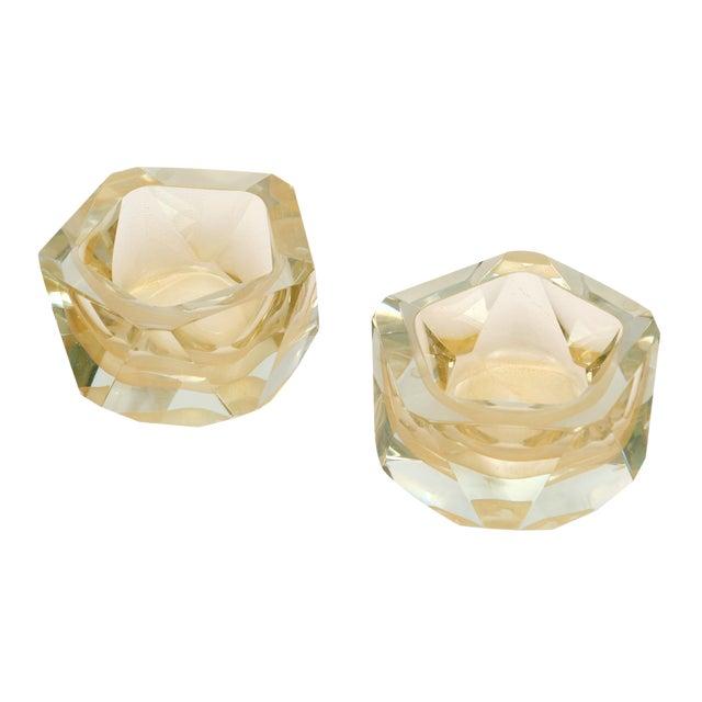 Murano Glass Hand-Blown Avventurina Bowls - a Pair For Sale