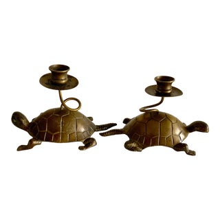 Vintage Brass Turtle Candleholders, a Pair For Sale