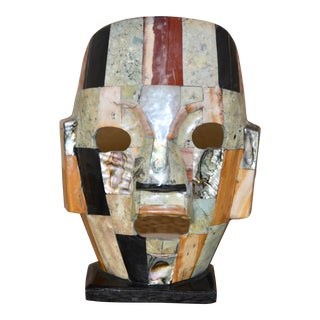 Folk Art Semiprecious Stone & Onyx Display Mask For Sale