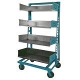 Image of Industrial Blue Steel Factory Storage A-Frame Rack as Shelving Unit For Sale