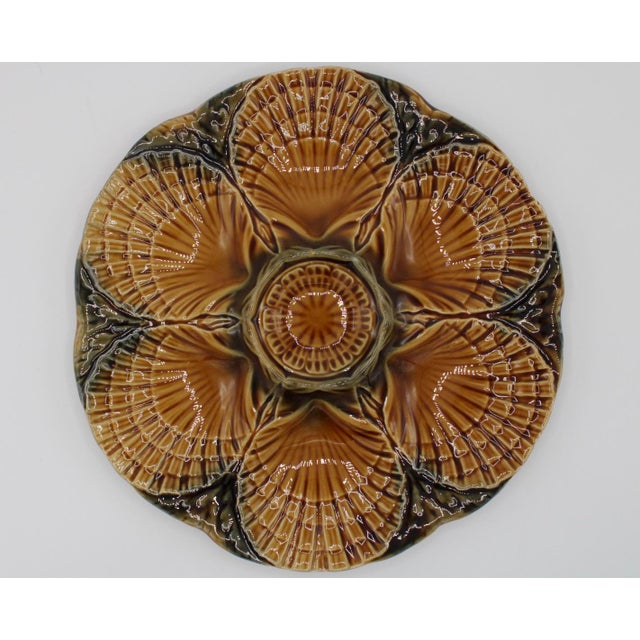 French 1930s French Sarreguemines Scallop Shell Oyster Plate For Sale - Image 3 of 9