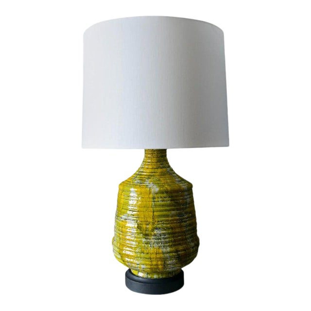 Large Textured Ceramic Table Lamp, Circa 1975 For Sale