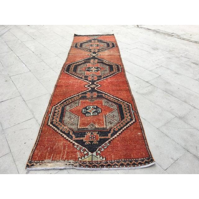 Vintage Turkish Oushak Geometric Design Handmade Rug Runner Rug - 3′4″ × 12′1″ For Sale - Image 9 of 9