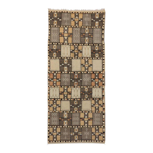Jebel Siroua Moroccan Rug in Soft Neutral Colors in Mid-Century Modern Style For Sale