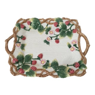 Fitz and Floyd Faux Bois Berry Handled Tray For Sale