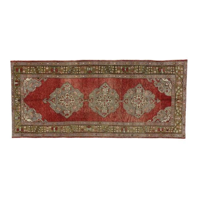 Vintage Turkish Oushak Gallery Rug, Wide Hallway Runner - 05'01 X 11'04 For Sale