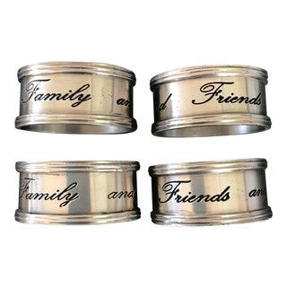 Pottery Barn Silver Sentiment Napkin Rings - Set of 4