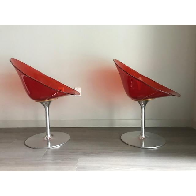 Kartell Kartell Opaque Red Chairs by Philippe Starck - A Pair For Sale - Image 4 of 6