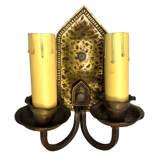 Antique Arts & Crafts Hammered Brass Double Light Wall Sconce For Sale - Image 12 of 12