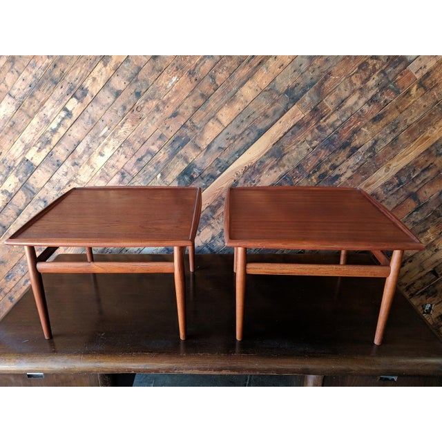 1960s Pair of Danish Teak Mid Century Side/Coffee Tables by Grete Jalk for Glostrup For Sale - Image 5 of 10