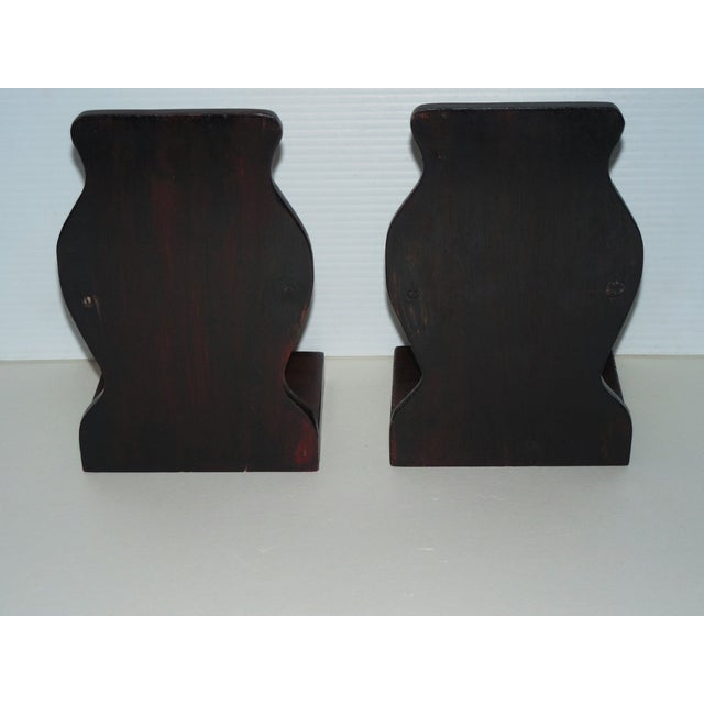 Mid-Century Brass and Rosewood Owl Bookends - Pair For Sale - Image 5 of 7