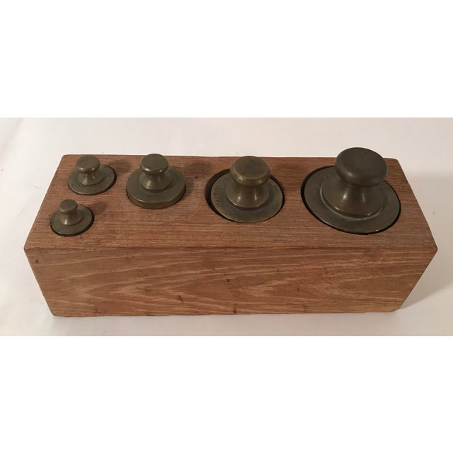 Vintage Brass Weights in Wooden Case - Set of 5 For Sale In Dallas - Image 6 of 11