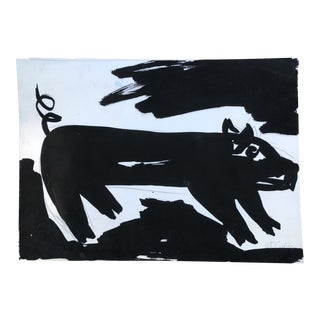 "Original Robert Cooke ""Pig in a Storm "" Painting For Sale"