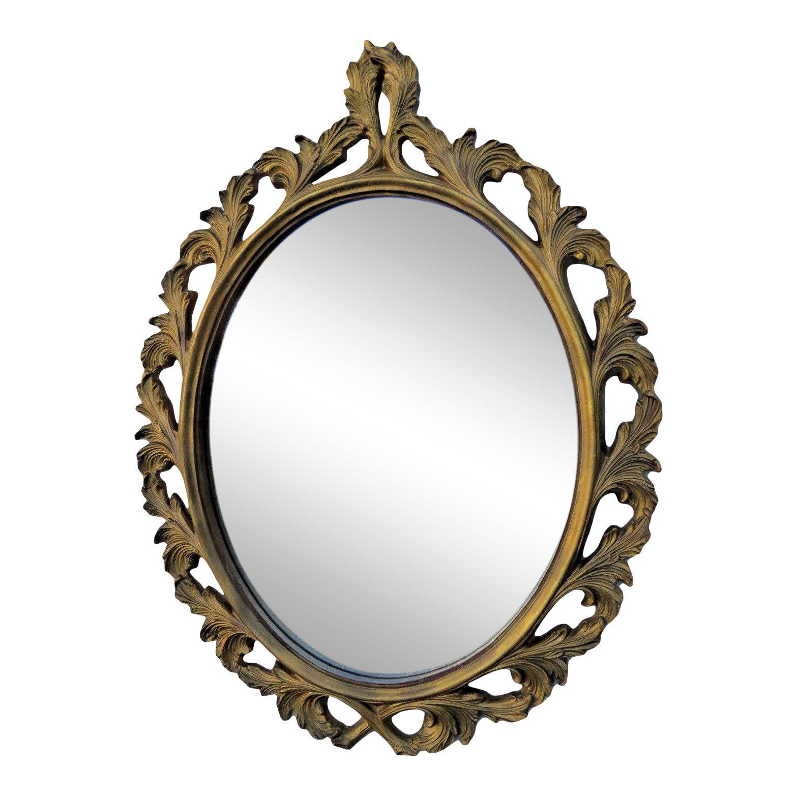 Carved Oval Vintage Distressed Gold Wall Bathroom Vanity Mirror Chairish