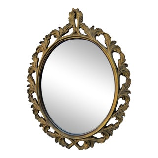 Carved Oval Vintage Distressed Gold Wall Bathroom Vanity Mirror For Sale