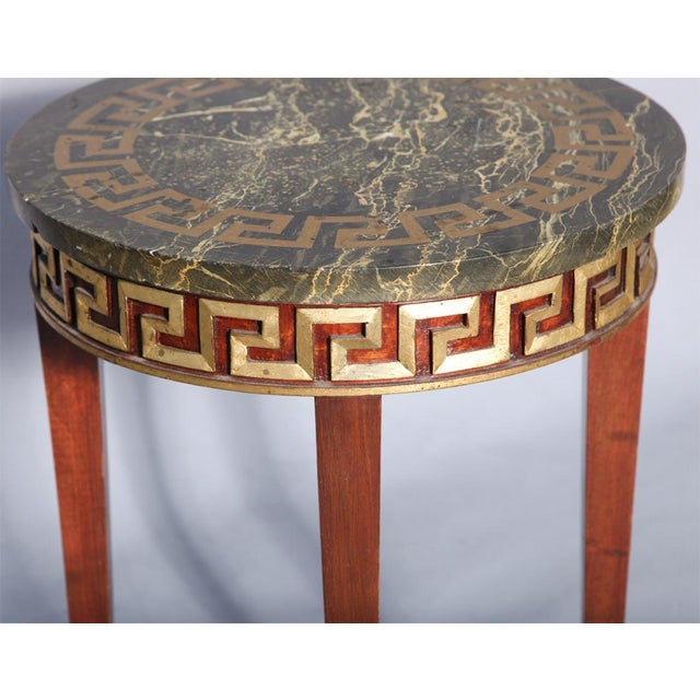 Greek Key Carved Accent Table - Image 5 of 10