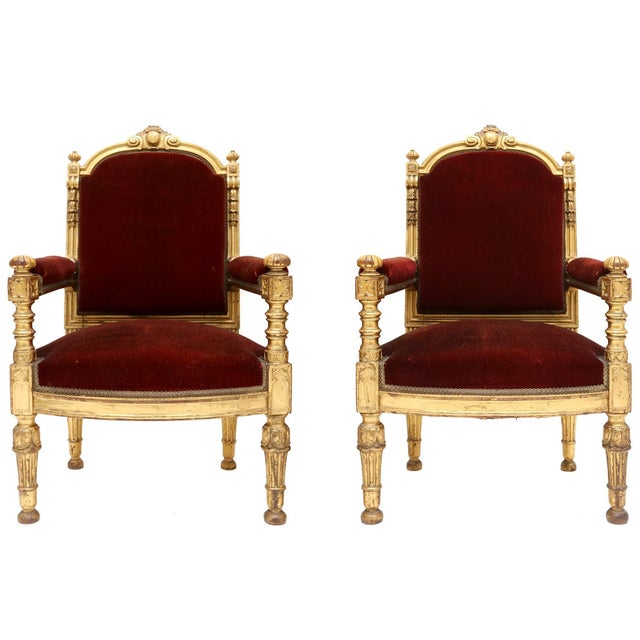 Giltwood Giltwood and Velvet Classical Armchairs For Sale - Image 7 of 7