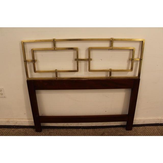 Mid-Century Modern Hollywood Regency Kittinger Brass/Walnut Twin Size Headboard - Image 5 of 11
