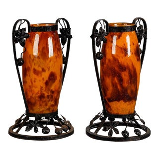 Pair Tall Signed Delatte Nancy Art Glass and Iron Vases For Sale