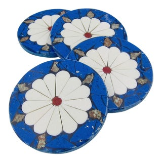 Set of Brazilian Inlaid Stone Coasters in Blue and White For Sale
