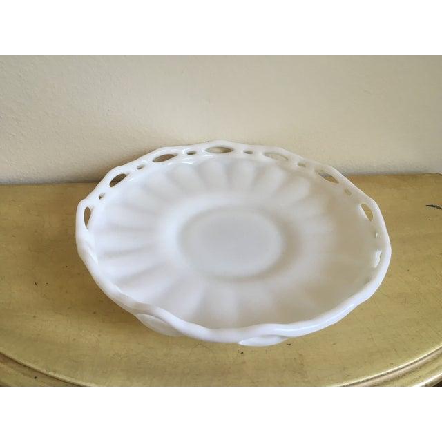 Lattice Milk Glass Large Serving Tray, Mid Century - Image 3 of 8