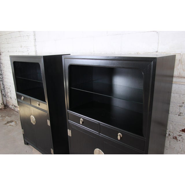 1960s Michael Taylor for Baker Far East Collection Ebonized Chinoiserie Wall Units, Pair For Sale - Image 5 of 13