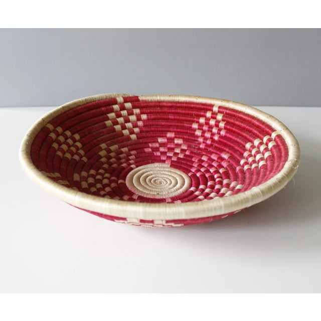 Vintage Geometric Woven Basket Tray Wall Hanging Round Tribal - Image 3 of 4