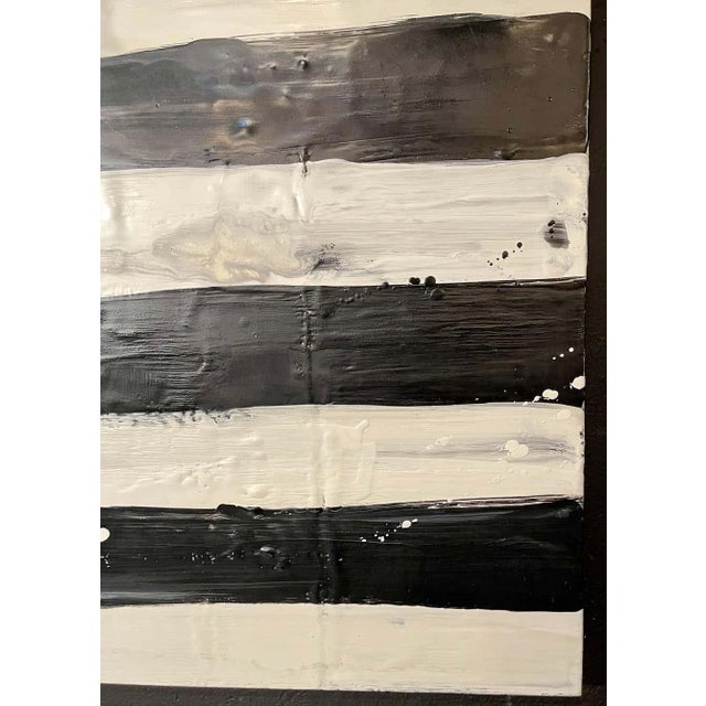 "Modern Lynn Basa Encaustic Black and White Stripe Panel ""Not So Simple"" 2012 For Sale - Image 3 of 12"