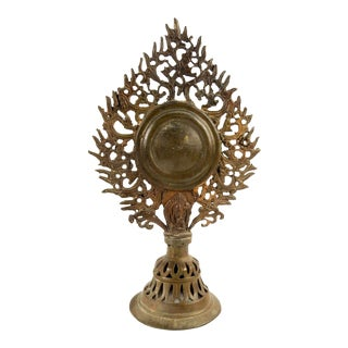 Antique Tibetan Bronze Mirror Finial For Sale