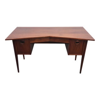Ed Wormley for Dunbar Teak & Cane Desk For Sale