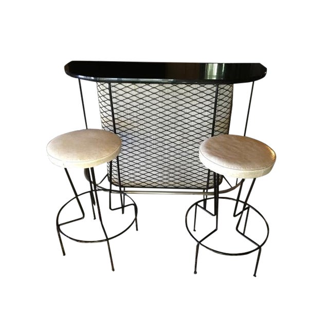 Mid Century Vintage Frederick Weinberg Bar & Stool- Set of 3 For Sale