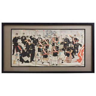 Japanese Meiji Period Triptych Print Imperial Army Officers For Sale