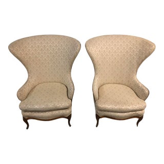 1920s Butterfly Huge Wingback Chairs - a Pair Customize Your Chairs! For Sale