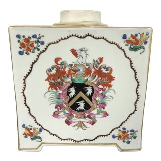 Antique Chinese Export Porcelain Armorial Tea Caddy Famille Vert For Sale