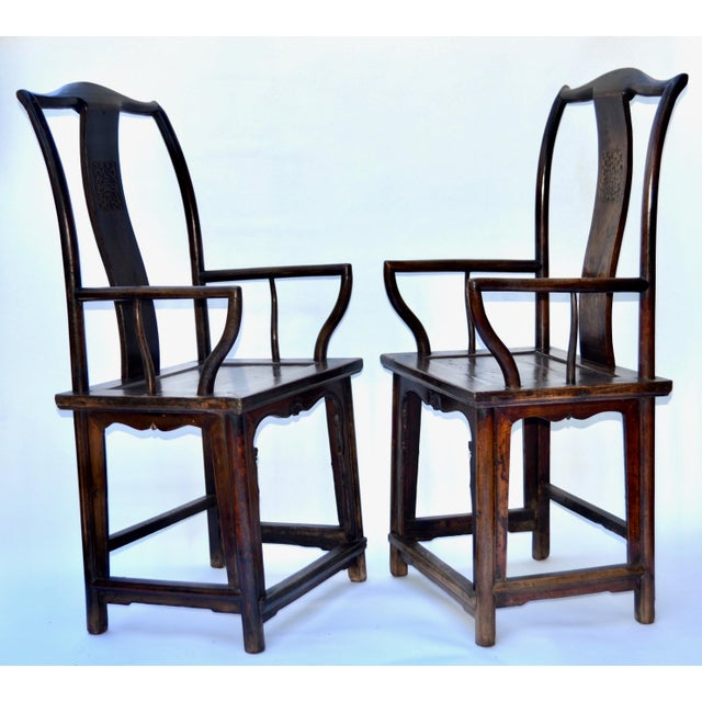 Asian Antique Pair Tall Chinese Scholar Chairs For Sale - Image 3 of 12
