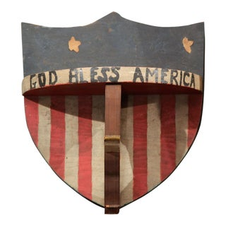 """God Bless America"" Patriotic Piece of Folk Art"