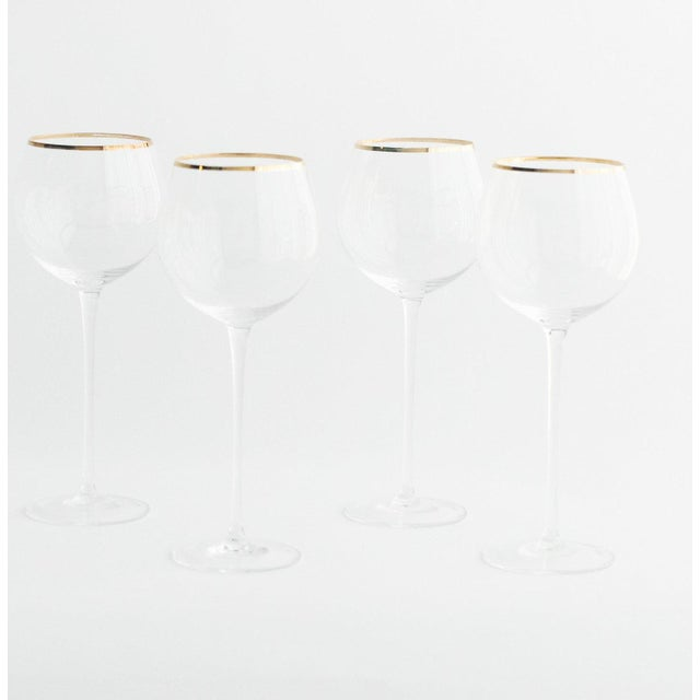 2020s Siren Beverageware Clear + Gold Red Wine - Set of 4 For Sale - Image 5 of 5