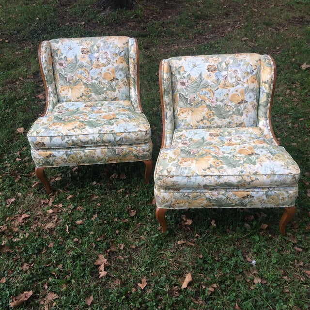 Vintage Winged Slipped Chairs in Floral - Pair - Image 2 of 9