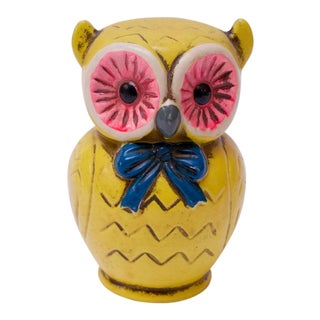 Vintage Japanese Paper Mache Yellow Owl Bank For Sale