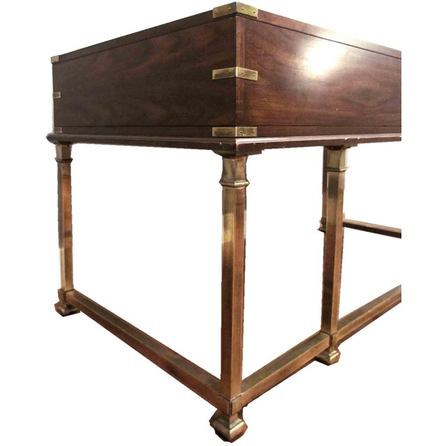 1970s Campaign Sligh Mahogany Brass & Leather Writing Desk For Sale - Image 11 of 12