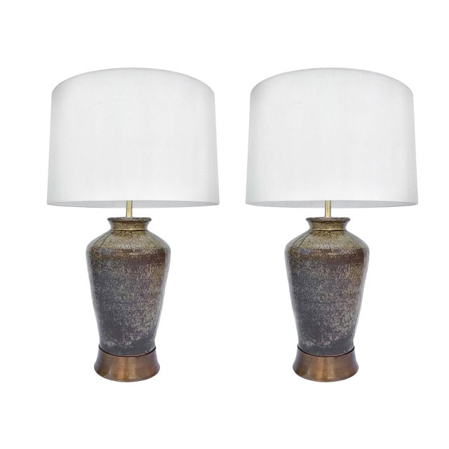 Pair of Spanish Jar Ceramic Table Lamps For Sale