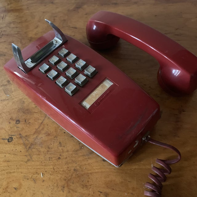 Vintage Red Push Button Telephone For Sale - Image 4 of 11