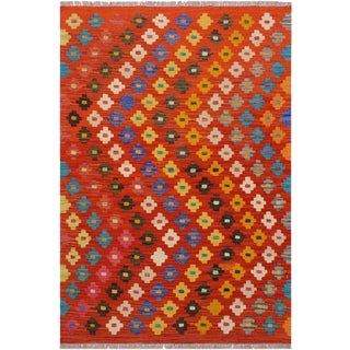 Contemporary Kilim Alyse Rust/Ivory Hand-Woven Wool Rug - 3'6 X 4'11 For Sale