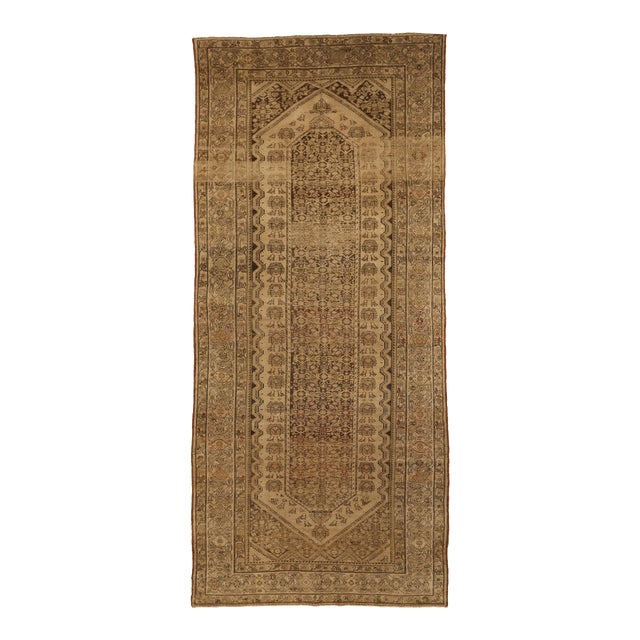 Antique Persian Malayer Rug With Red & Brown Tribal Pattern on Ivory Field- 6′1″ × 13′6″ For Sale