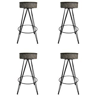 Set of Four Stools With Removable Backs For Sale