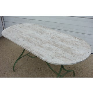 French Oval Bistro Table With Wood Top & Iron Base Preview