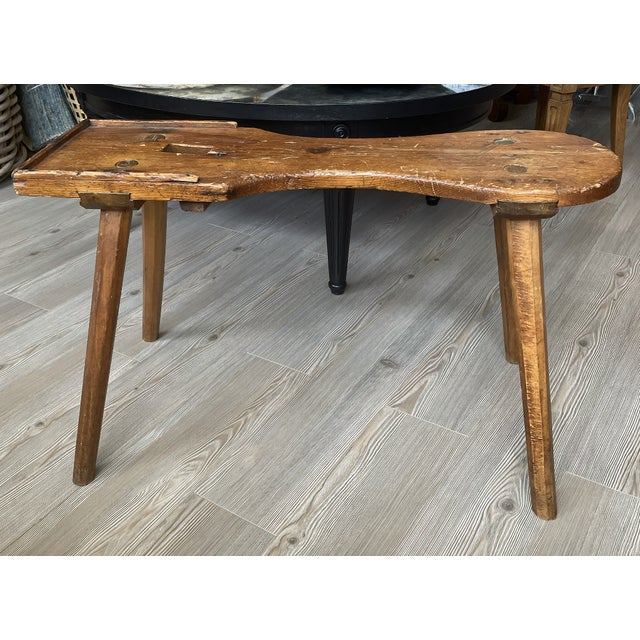 Wood Antique Primitive Rustic Handmade Wooden Farm Milking Stool Bench For Sale - Image 7 of 9